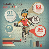 Template for infographic about cycling with a girl in vintage st — Stock Vector