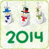 Green Christmas card with snowmen 2014 — Stock Vector