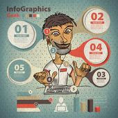 Template for infographic with a geek and programmer in vintage s — Stock Vector
