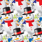 Seamless pattern with snowmen in different outfits — Stock Vector
