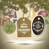Zestaw cristmas odznaki i ikony wakacje, bałwan, prezenty i bel — Wektor stockowy