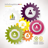 Modern vector elements for infographics with different cogwheels — Stock Vector