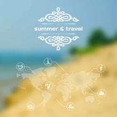Vector mobile and web interface summer travel theme — Stock Vector