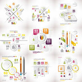 Infographics set of nine pieces on business white — Stock Vector