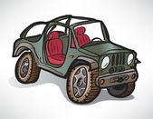 Drawing off-road vehicle jeep khaki — Stockvector