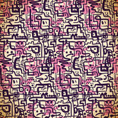 Seamless pattern of pink and purple lines and emotions — ストックベクタ