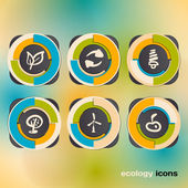 Icon set on the ecology and conservation of energy — Stock Vector