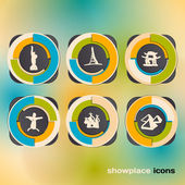 Icon set with landmarks and attraction — Stock Vector
