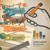 Vorlage für infographik mit dem schreiben von hand und office-papier in v — Stockvektor