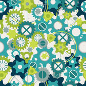 Seamless abstract pattern of pastel green gears — Stock Vector