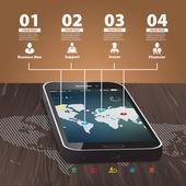 Szablon dla plansza z telefonu komórkowego z drewnianymi deseń — Wektor stockowy