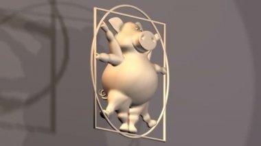 Pig Proportions - Vitruvius animal — Stock Video