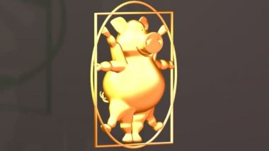 Pig Proportions - Vitruvius animal. Gold. — Stock Video