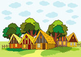 Village houses — Stock Vector
