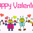 Happy valentine robots — Stock Vector