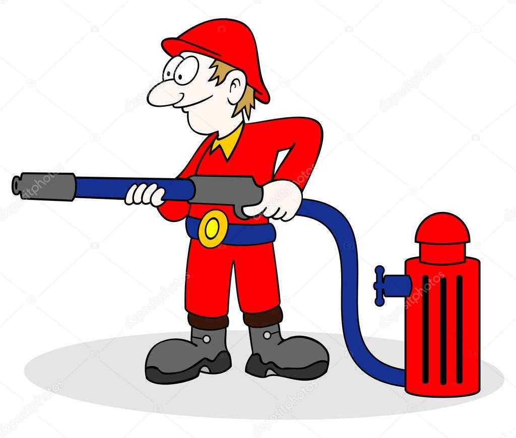 Mano disegnata cartone animato del pompiere con il tubo