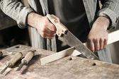 Carpenter hand's close up — Foto de Stock