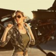 Stock Photo: Fashion Female airplane mechanic