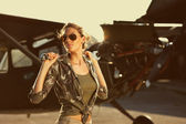 Fashion Female airplane mechanic — Stock Photo