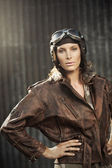 Vintage pilot: fashion model portrait — Stok fotoğraf