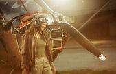 Vintage uçak pilotu — Stok fotoğraf
