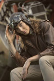Beautiful woman aviator: vintage photo — Stock Photo