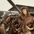 Beautiful woman pilot: vintage photo — Stock Photo