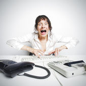 Female secretary crazed from overwork — Stok fotoğraf