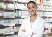 Portrait of Smiling Woman Pharmacist in Pharmacy — Foto de Stock