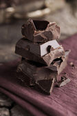 Stack of dark chocolate — Stock Photo