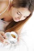 Hot Drink in Bed — Stock Photo