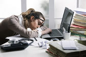 Tired businesswoman — Stock Photo