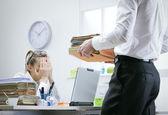 Overworked businesswoman — Stock Photo