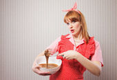 Retro housewife — Stock Photo