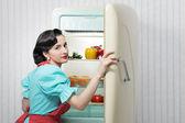 Sextiotalet kylskåp reklam — Stockfoto
