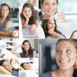 Relaxing at home collage - Stock Photo