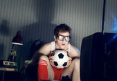 Soccer Fan Watching Television — Photo