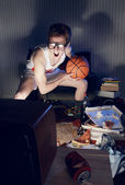 Basketball Fan Watching Television — Stock Photo
