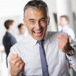 Business man celebrating his success — Stock Photo
