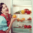 Stock Photo: Sixties refrigerator advertising