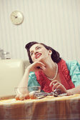 Housewife dreaming — Stock Photo