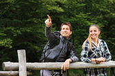 Portrait of young couple hikers — Stock Photo