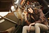 Beautiful woman aviator: vintage photo — Stock Photo