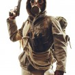 Post apocalyptic survivor in gas mask — Stock Photo