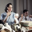 Accountant secretary retro woman vintage office — Stock Photo
