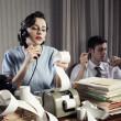contable secretaria mujer retro vintage — Foto de Stock