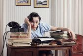 Overwhelmed Office Worker — Stock Photo