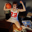Basketball Fan Watching Television — Stok fotoğraf