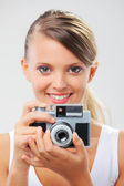Happy Girl photographer — Stock Photo
