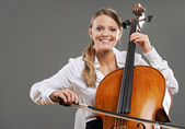 Beautiful cellist — Stock Photo
